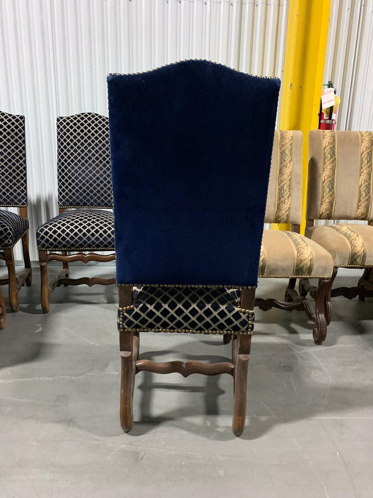 Set of Eight 20th Century French Louis XII Os de Mouton Dining Chairs For Sale 1