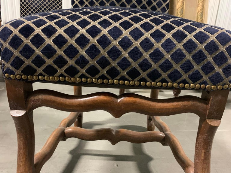 Set of Eight 20th Century French Louis XII Os de Mouton Dining Chairs For Sale 4