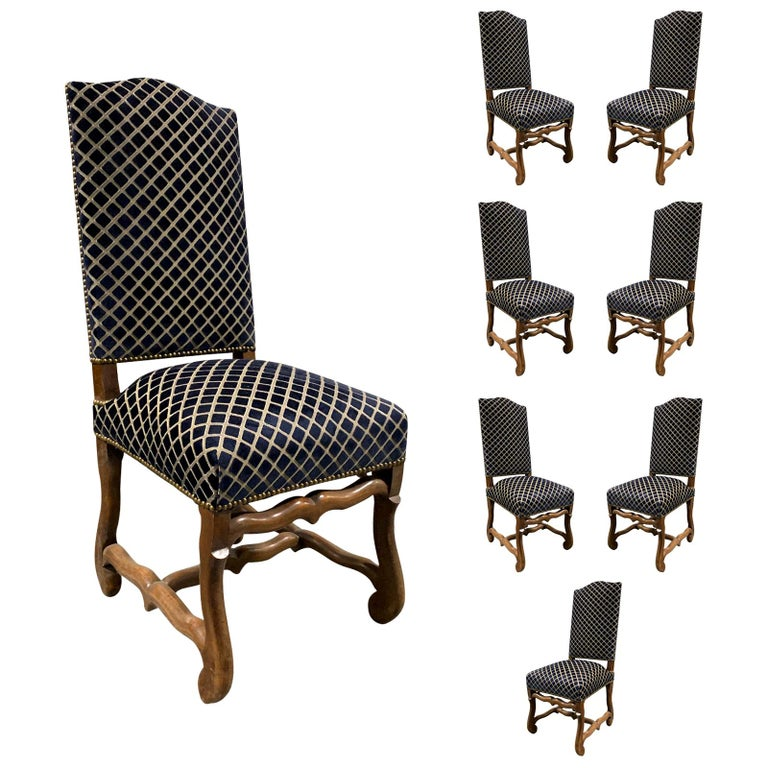 Set of Eight 20th Century French Louis XII Os de Mouton Dining Chairs For Sale