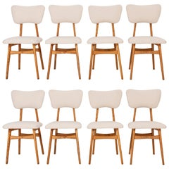 Set of Eight 20th Century Light Crème Boucle Chairs, 1960s