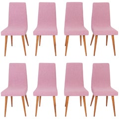 Set of Eight 20th Century Pink Mélange Rajmund Halas Chairs, 1960s