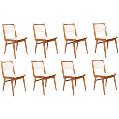 Set of Eight 20th Century White Velvet Chairs, Poland, 1960s