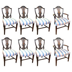 Set of Eight '6+2' Old English Inlaid Mahogany Hepplehwite Shieldback Chairs