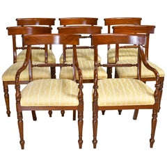 Set of Eight '8' Regency Style Dining Chairs in Mahogany with Upholstered Seat
