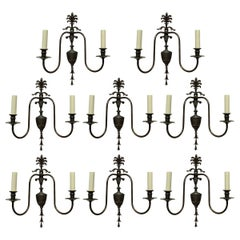 Set of Eight Adam Style Bronzed Wall Sconces