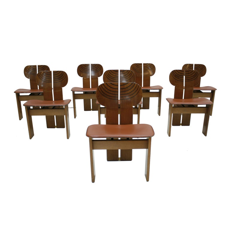 """Set of Eight """"Africa"""" Italian Chairs, Designed by Afra and Tobia Scarpa For Sale"""