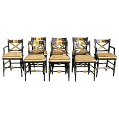 Set of Eight American Black Lacquered and Gilt Fancy Chairs Baltimore, C. 1810