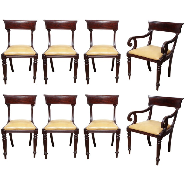 Set of Eight American Dining Chairs For Sale