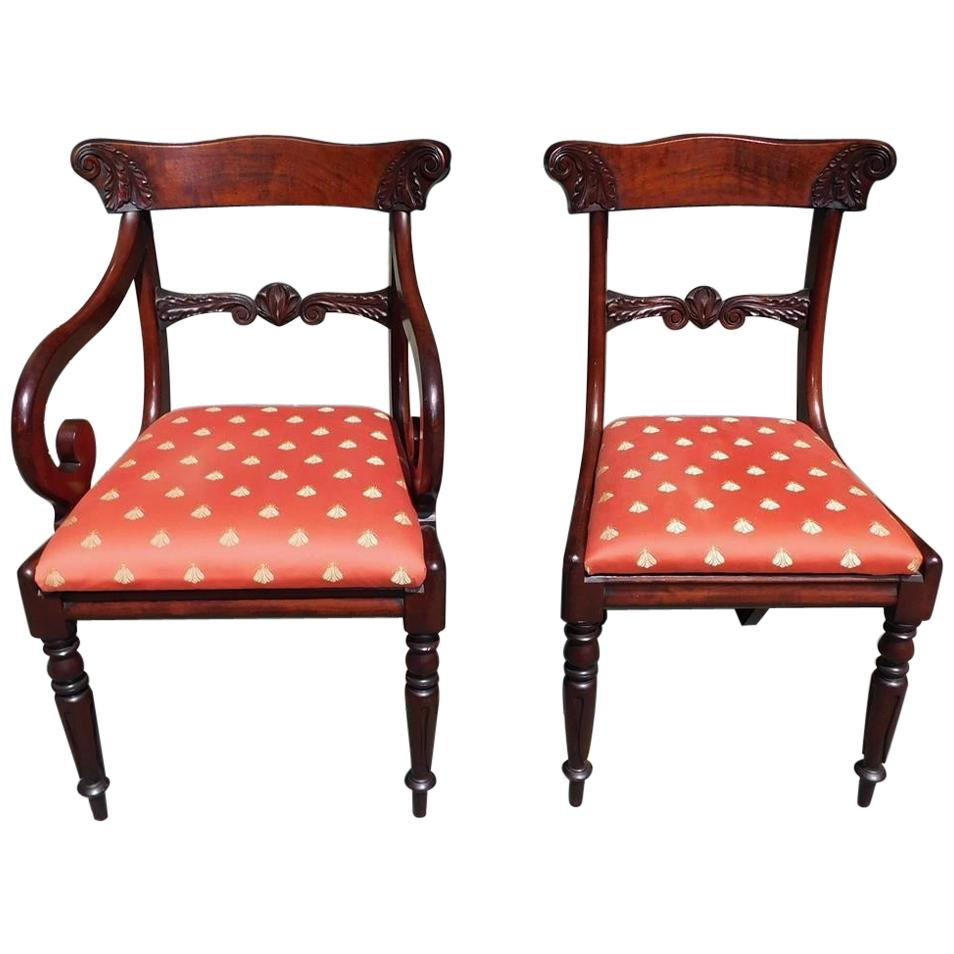 Set of Eight American Federal Mahogany Acanthus Carved Dining Chairs Circa 1820