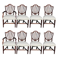 Set of Eight American Hepplewhite Mahogany Shield Back Dining Room Chairs C 1820