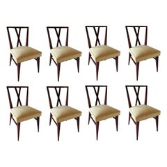 Set of Eight American Modern X-Back Dining Chairs by Tommi Parzinger