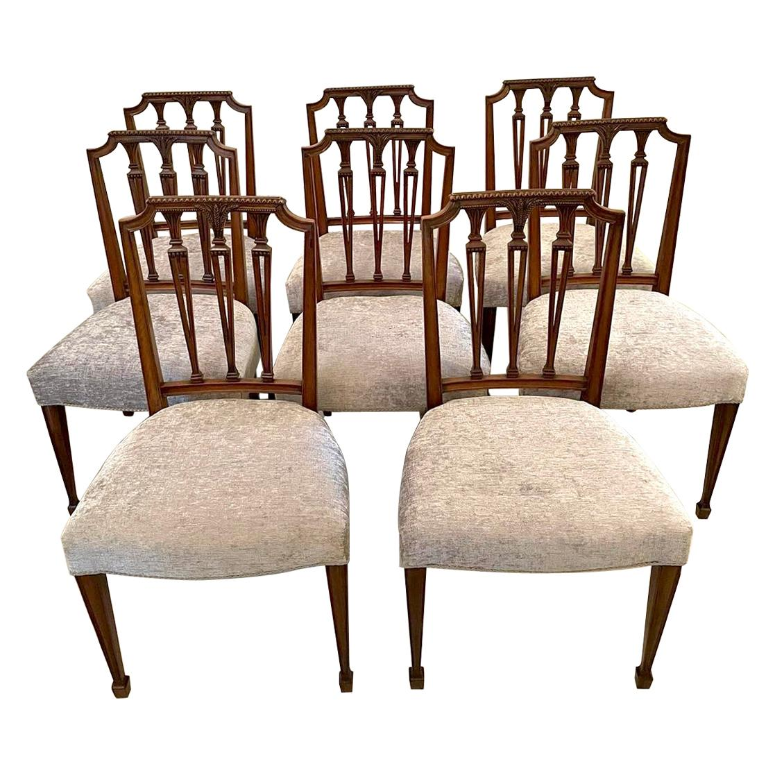 Set of Eight Antique 19th Century Victorian Carved Mahogany Dining Chairs