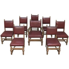 Set of Eight Antique Chairs Includes 1 Armchair