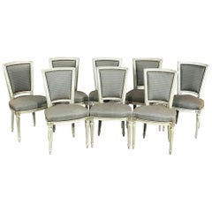 Set of Eight Antique French Louis XVI Dining Painted Chairs