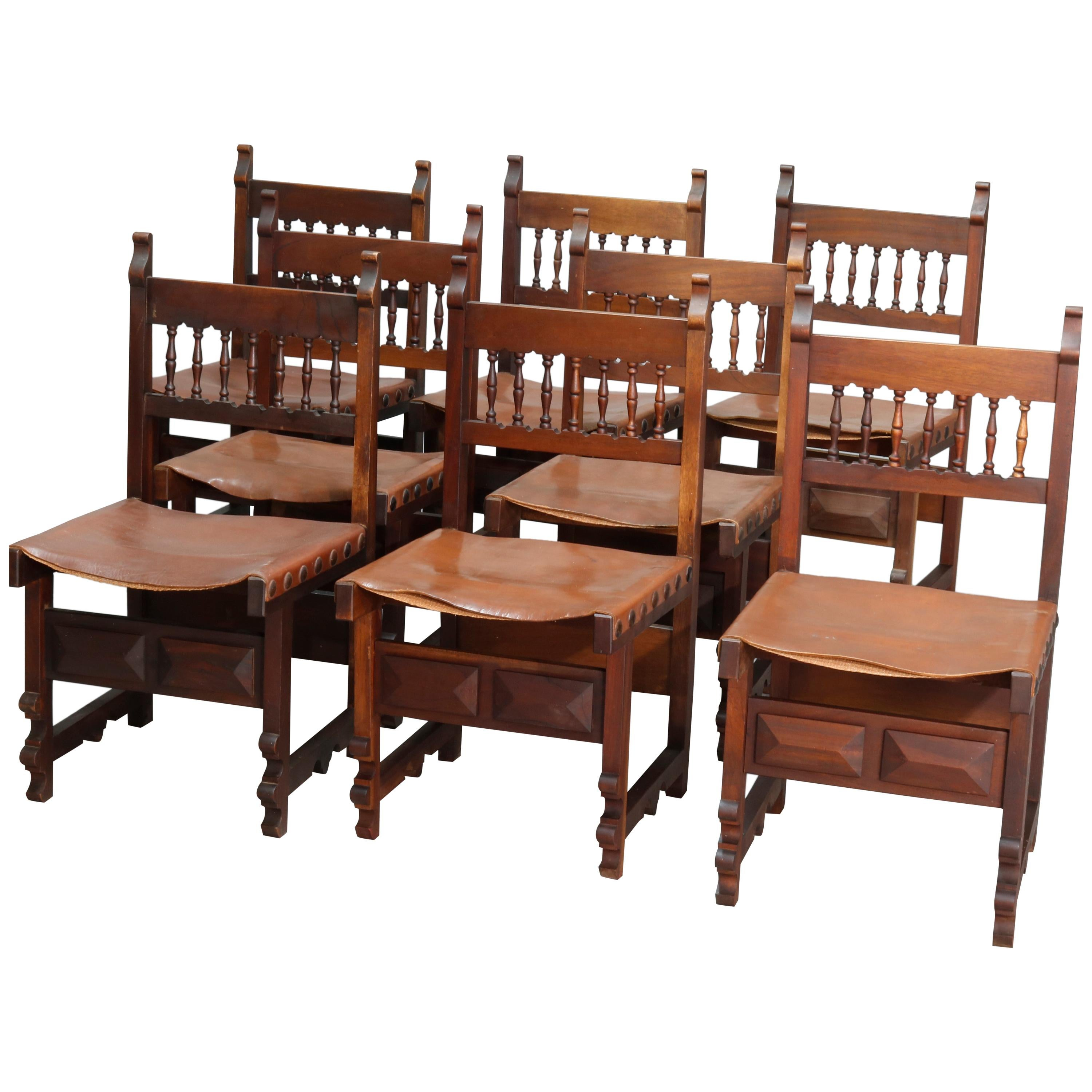 Set of Eight Antique French Renaissance Walnut and Leather Dining Chairs