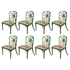 Set of Eight Antique Green Painted Dining Chairs