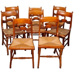 Set of Eight Antique Handmade Ladder Back and Rush Seat Tiger Maple Chairs