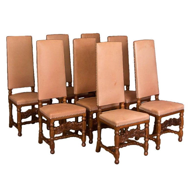 Incredible Set Of Eight Antique Leather Upholstered High Back Dining Chairs Alphanode Cool Chair Designs And Ideas Alphanodeonline