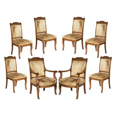 Set of Eight Antique Mahogany Dining Chairs, France, Mid-19th Century