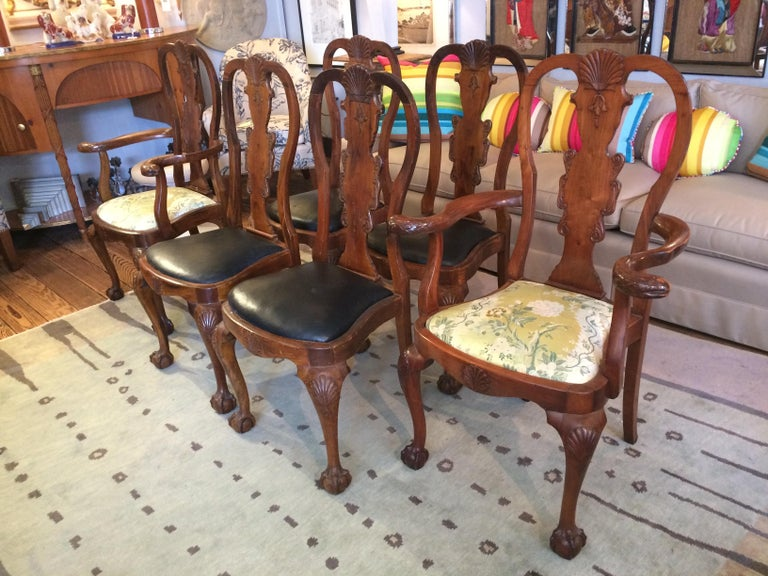 Set of Eight Antique Queen Anne Style Dining Chairs In Good Condition For Sale In Hopewell, NJ