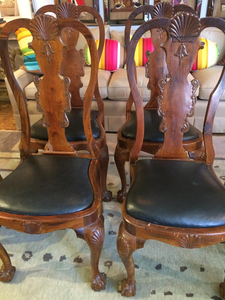 19th Century Set of Eight Antique Queen Anne Style Dining Chairs For Sale