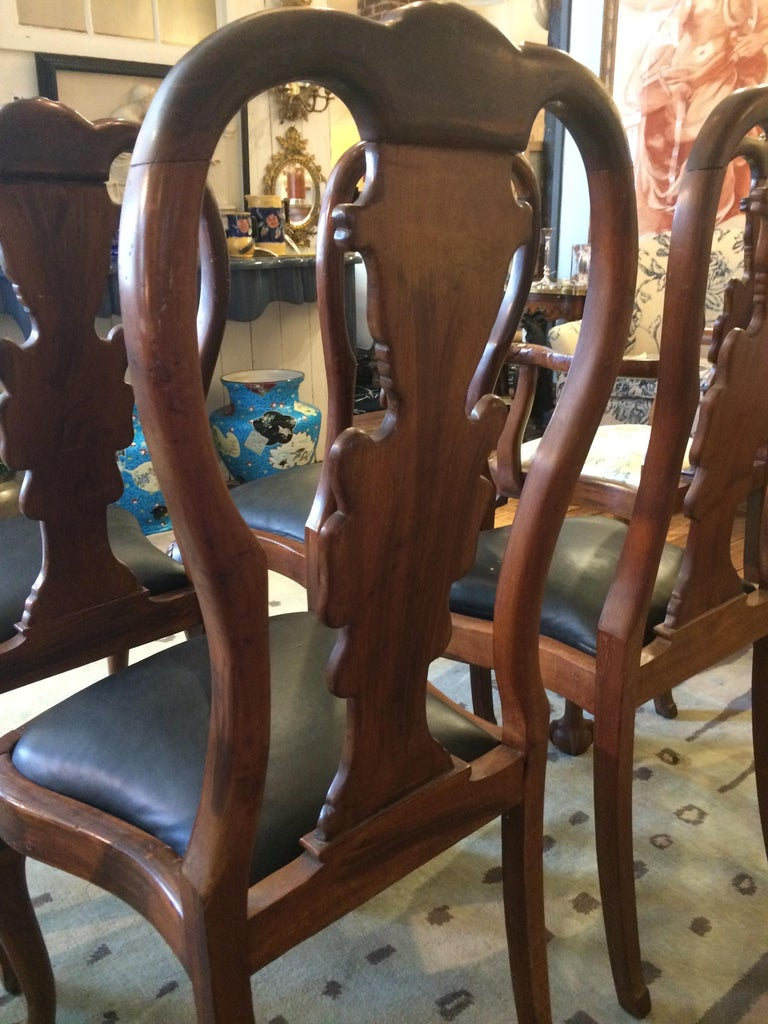 Set of Eight Antique Queen Anne Style Dining Chairs For Sale 1