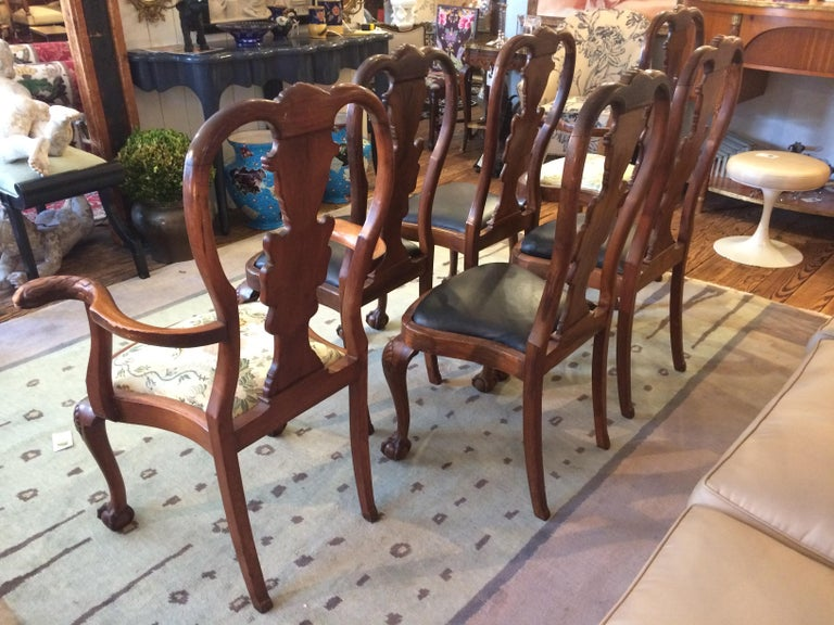 Set of Eight Antique Queen Anne Style Dining Chairs For Sale 2