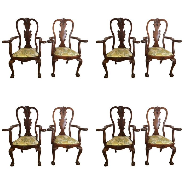 Set of Eight Antique Queen Anne Style Dining Chairs For Sale