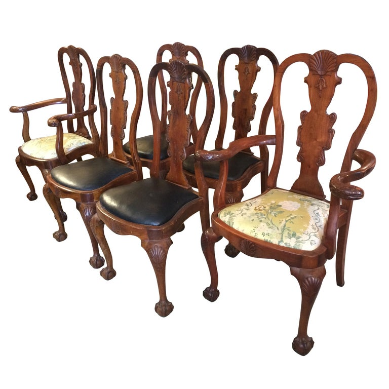 Set Of Eight Serpeant Motife Antique, Queen Anne Mahogany Dining Chairs