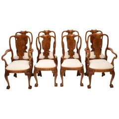 Set of Eight Antique Walnut Queen Anne Dining Chairs
