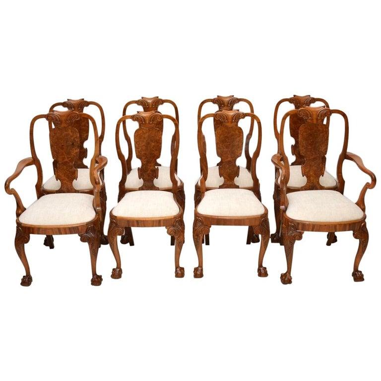 Set of Eight Antique Walnut Queen Anne Dining Chairs For Sale - Set Of Eight Antique Walnut Queen Anne Dining Chairs For Sale At 1stdibs