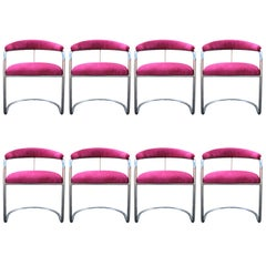 Set of Eight Anton Lorenz for Thonet Pink and Chrome Dining Chairs