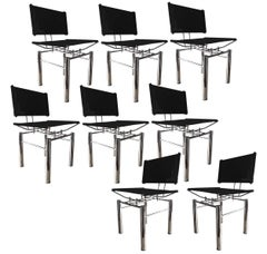 Set of Eight Architectural Black Woven Chrome Dining Chairs from Ulrich Bitch