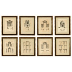 Set of Eight Architectural Etchings in Custom Frames