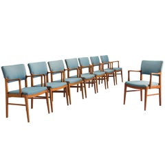Set of Eight Armchairs in Oak and Blue Fabric