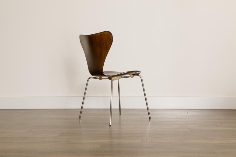 Set of Eight Arne Jacobsen for Fritz Hansen 'Series-7' Chairs, c. 1973, Signed  For Sale 4