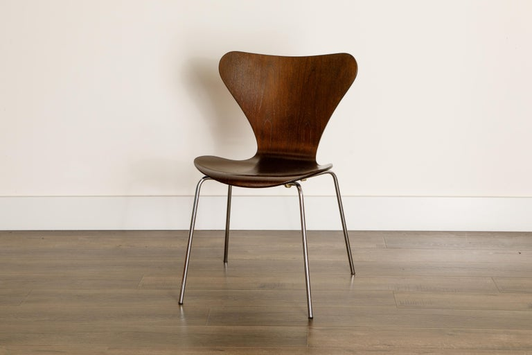 Set of Eight Arne Jacobsen for Fritz Hansen 'Series-7' Chairs, c. 1973, Signed  For Sale 7