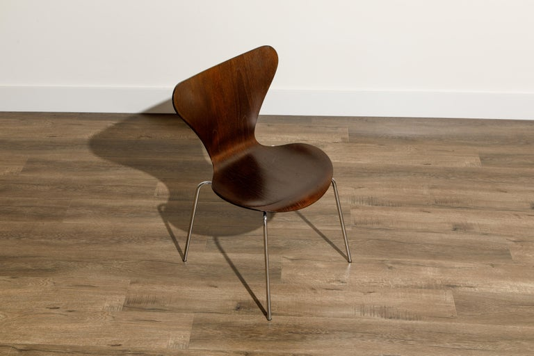 Set of Eight Arne Jacobsen for Fritz Hansen 'Series-7' Chairs, c. 1973, Signed  For Sale 8