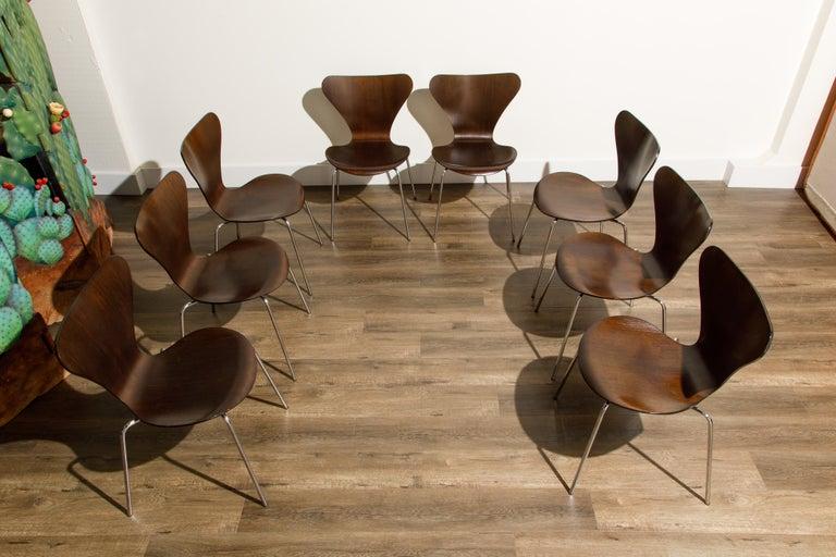 Mid-Century Modern Set of Eight Arne Jacobsen for Fritz Hansen 'Series-7' Chairs, c. 1973, Signed  For Sale