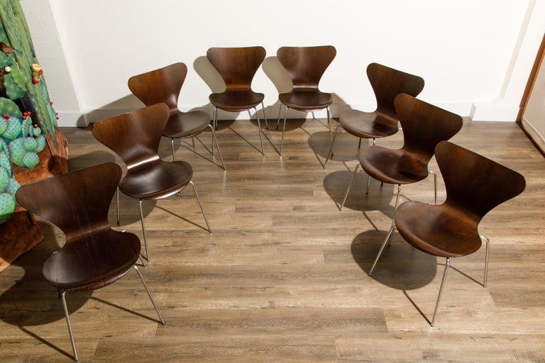 Danish Set of Eight Arne Jacobsen for Fritz Hansen 'Series-7' Chairs, c. 1973, Signed  For Sale