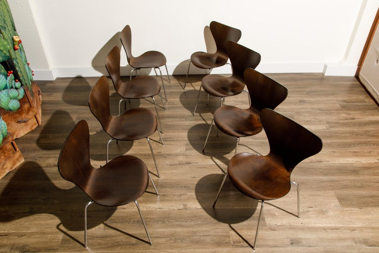 Stained Set of Eight Arne Jacobsen for Fritz Hansen 'Series-7' Chairs, c. 1973, Signed  For Sale