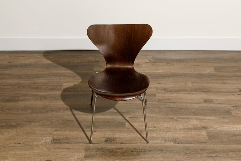 Steel Set of Eight Arne Jacobsen for Fritz Hansen 'Series-7' Chairs, c. 1973, Signed  For Sale