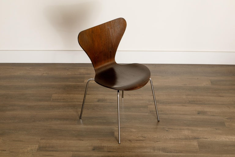 Set of Eight Arne Jacobsen for Fritz Hansen 'Series-7' Chairs, c. 1973, Signed  For Sale 1