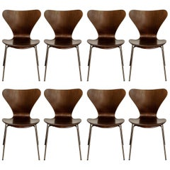 Set of Eight Arne Jacobsen for Fritz Hansen 'Series-7' Chairs, c. 1973, Signed