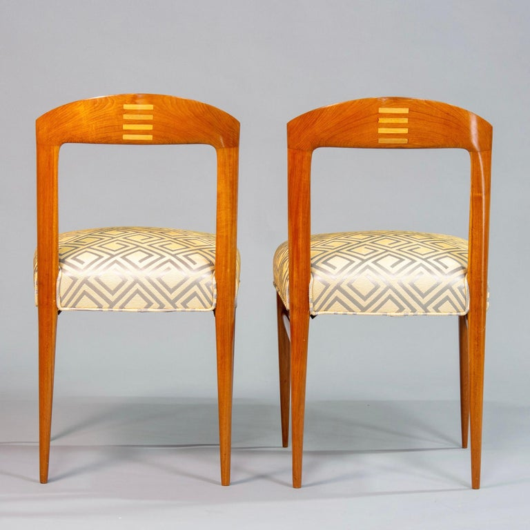 Set of Eight Art Deco Beech Chairs with New Upholstery For Sale 5