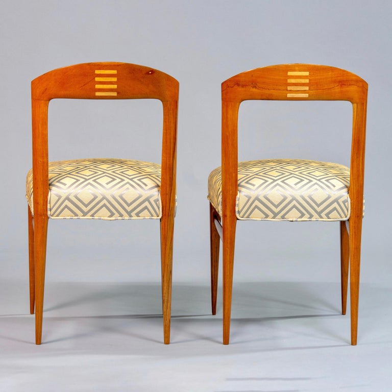 European Set of Eight Art Deco Beech Chairs with New Upholstery For Sale