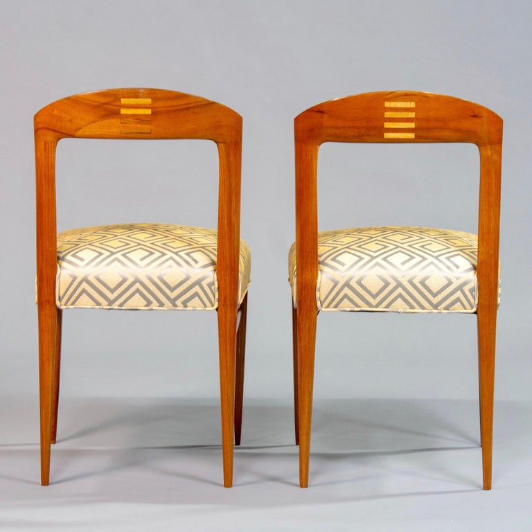 Set of Eight Art Deco Beech Chairs with New Upholstery In Good Condition For Sale In Troy, MI