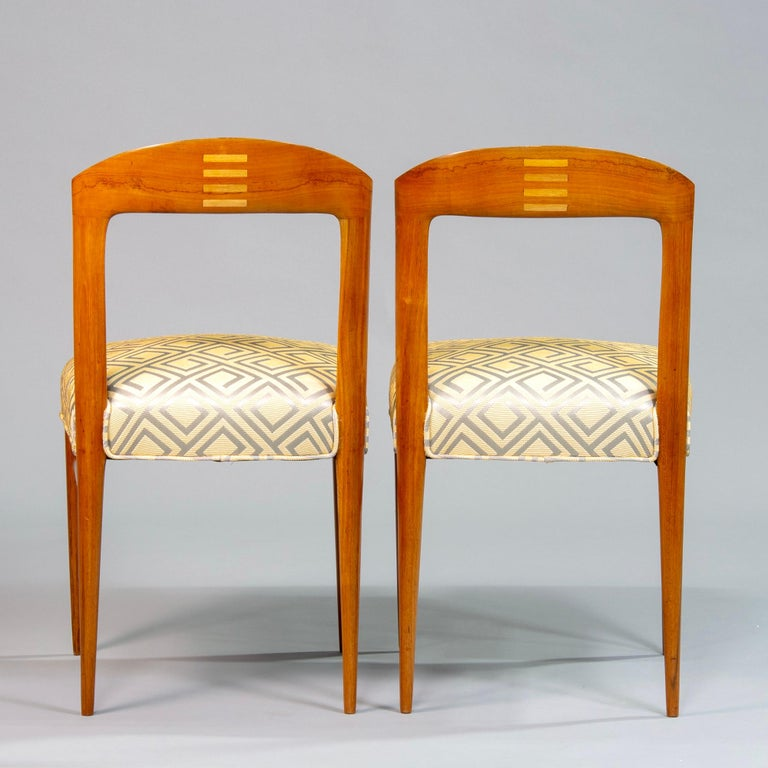 20th Century Set of Eight Art Deco Beech Chairs with New Upholstery For Sale