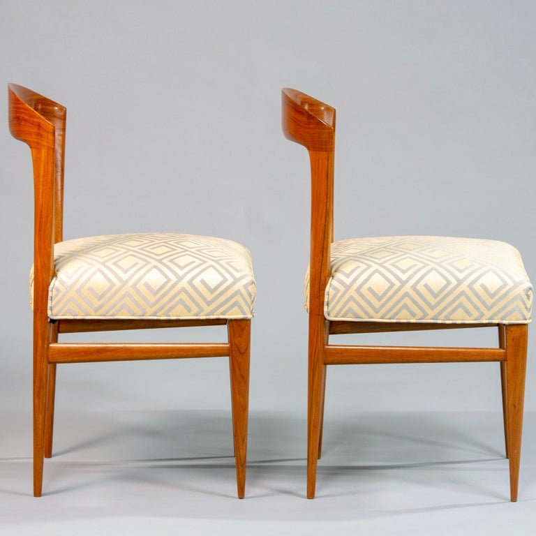 Set of Eight Art Deco Beech Chairs with New Upholstery For Sale 1
