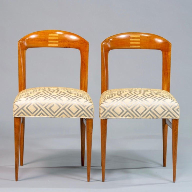 Set of Eight Art Deco Beech Chairs with New Upholstery For Sale 2